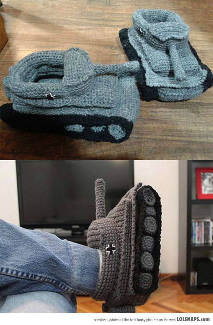 Old Fashioned Knitted Tank Slippers Pattern Motif Sewing Pattern